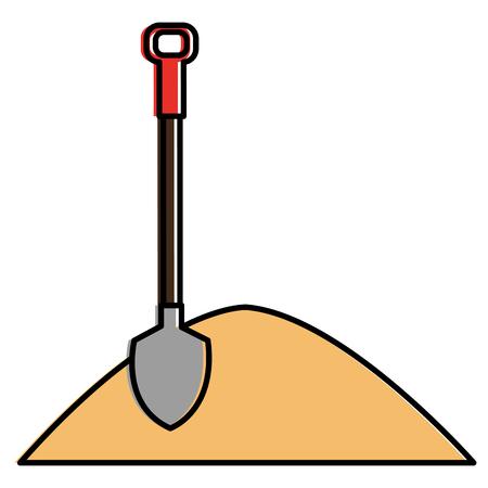 Zand met vector de illustratieontwerp van het schoppictogram.