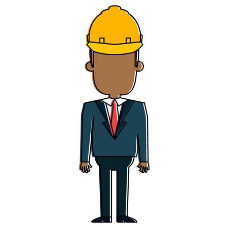 ●ヘルメット構造イラストデザインの黒人男性。 写真素材 - 92482666