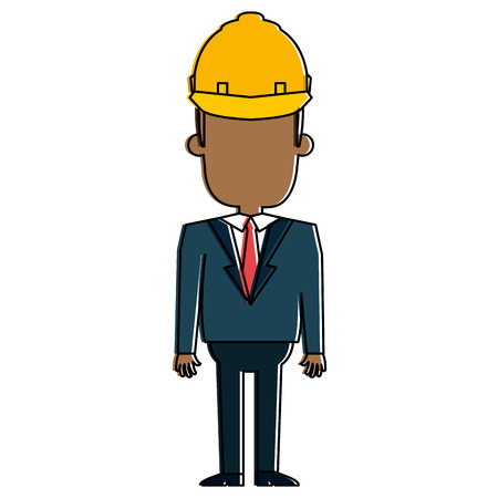 Black man with helmet construction illustration design. Illustration
