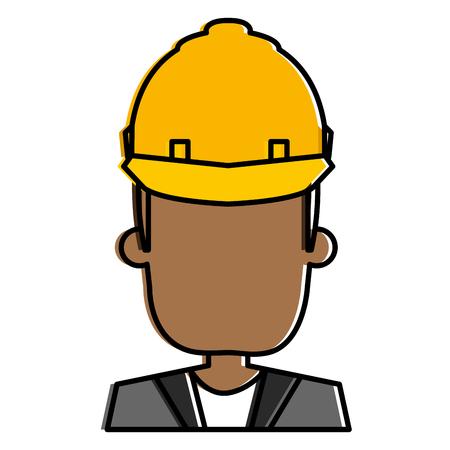 헬멧 건설 일러스트 디자인을 가진 흑인 남자입니다.