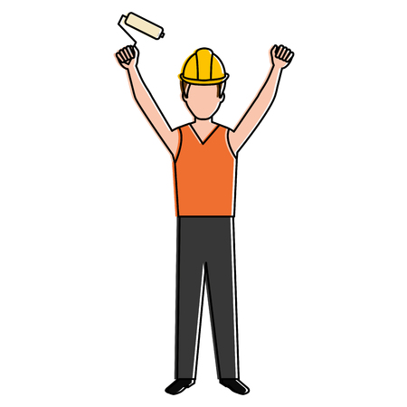 construction worker with paint roller avatar vector illustration design