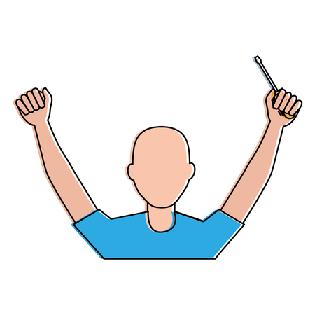 Construction worker with screwdriver avatar illustration design. Illustration