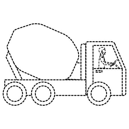 ●コンクリートミキサー台車アイコンイラストデザイン。