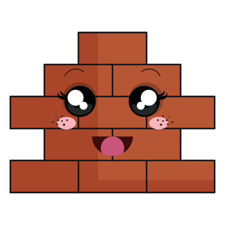 bricks wall pile  character vector illustration design Illustration