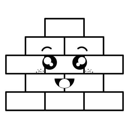 bricks wall pile kawaii character vector illustration design 向量圖像