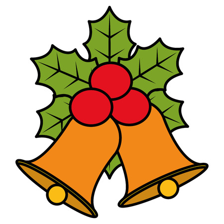 Christmas bell with leafs vector illustration design.