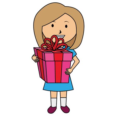 Cute girl with gift vector illustration design.