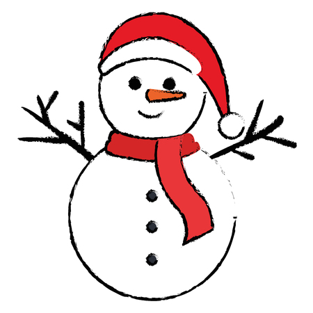 christmas snowman kawaii character vector illustration design Çizim