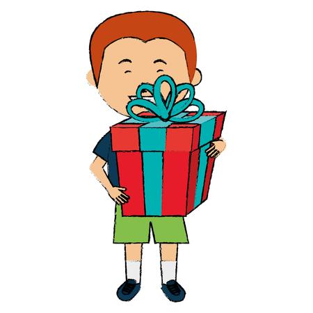 kleine jongen met cadeau vector illustratie ontwerp