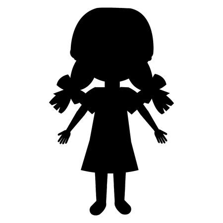 귀여운 아가씨 캐릭터 벡터 일러스트 레이션 디자인