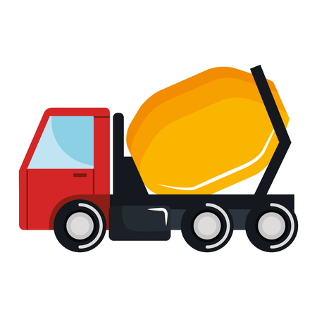 Concrete mixer truck icon vector illustration design.