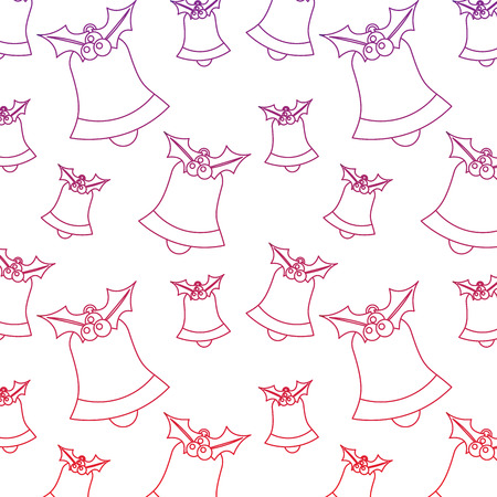 bells with holly berries christmas related pattern image vector illustration design  red to purple ombre line