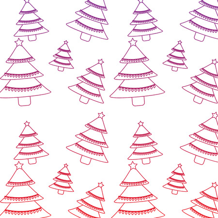 Tree christmas related pattern image vector illustration design red to purple ombre line Illustration