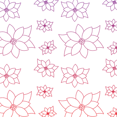 Poinsettia flower christmas related icon image vector illustration design red to purple ombre line Illustration