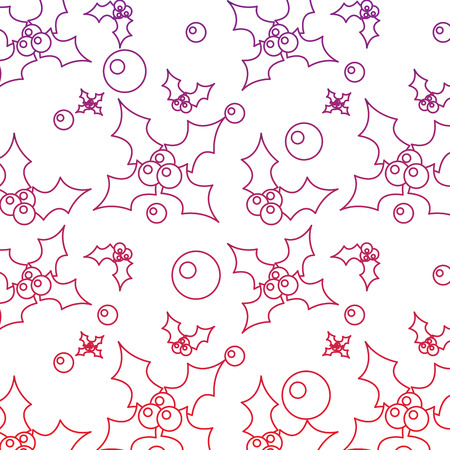 Holly berries christmas related pattern image vector illustration design red to purple ombre line Illustration
