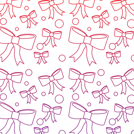 Bows christmas related pattern image vector illustration design red to purple ombre line