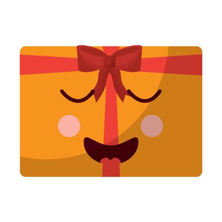 Happy bliss gift box emoji icon image vector illustration design Illustration