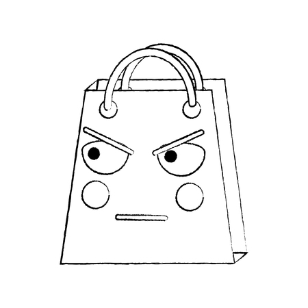 shopping bag angry emoji icon image vector illustration design   Illustration
