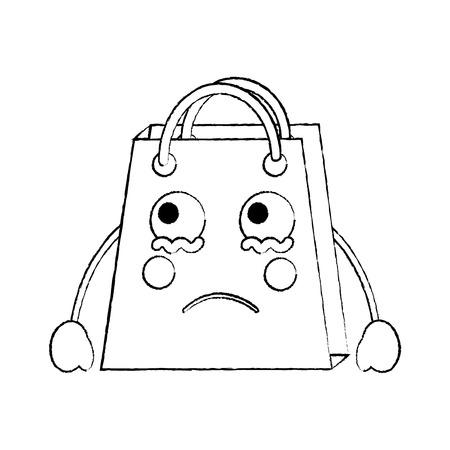 A shopping bag sad emoji icon image vector illustration design