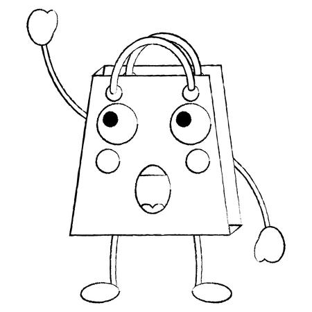shopping bag surprised emoji icon image vector illustration design Illustration