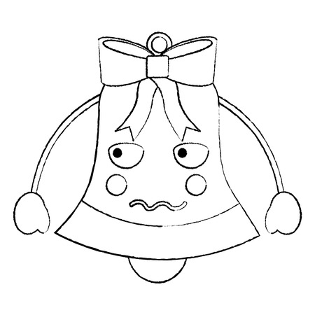 A christmas bell angry emoji icon image vector illustration design Stock Vector - 92472302