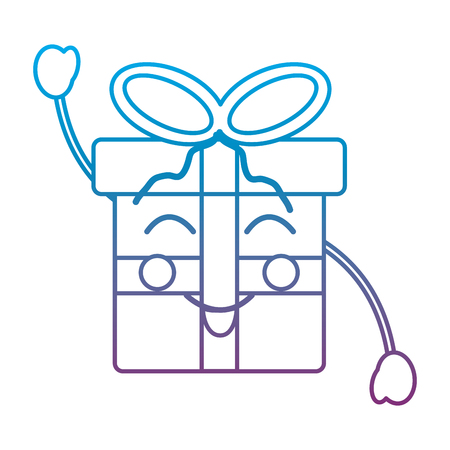 Gift box happy emoticon illustration in blue and  purple ombre line