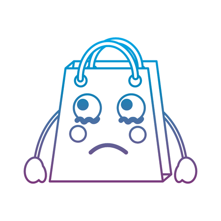 Shopping bag sad emoji icon image vector illustration design blue to purple ombre line