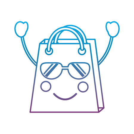 Shopping bag happy sunglasses emoji icon image vector illustration design blue to purple ombre line