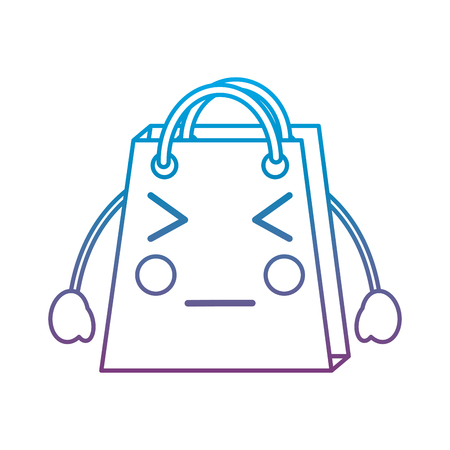 Shopping bag angry emoji icon image vector illustration design blue to purple ombre line Illustration