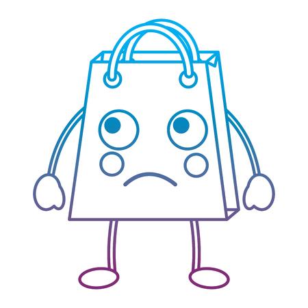 Shopping bag sad emoji icon image vector illustration design blue to purple ombre line