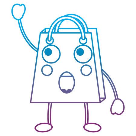 Shopping bag surprised emoji icon image vector illustration design blue to purple ombre line Illustration
