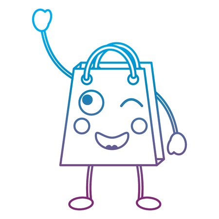Shopping bag happy emoticon illustration in blue and purple ombre line Illustration