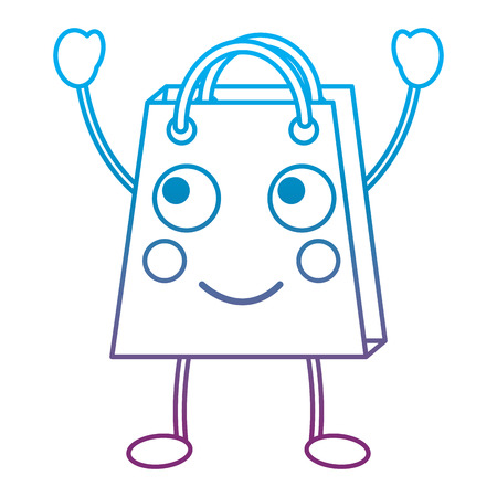 Shopping bag with two raised hands emoticon illustration in blue and purple ombre line Illustration