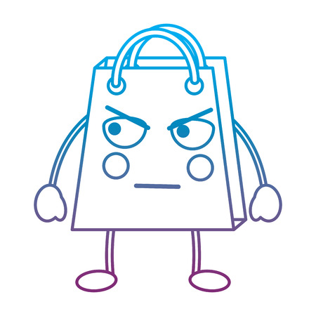 Shopping bag angry  emoticon illustration in blue and purple ombre line