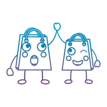 Couple shopping bag emoticons illustration in blue and purple ombre line Ilustração