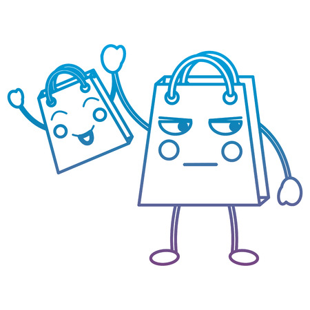 Two shopping bag  emoticons illustration in blue and purple ombre line