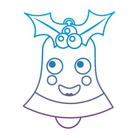 행복 한 크리스마스 벨 이모티콘 그림에서 파란색과 보라색 ombre 라인 일러스트