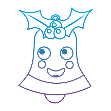 Happy christmas bell emoticon illustration in blue and purple ombre line