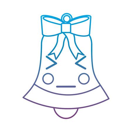 화가 크리스마스 벨 이모티콘 그림에서 파란색과 보라색 ombre 라인
