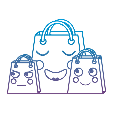 shopping bag emoji icon image vector illustration design  black line blue to purple ombre line