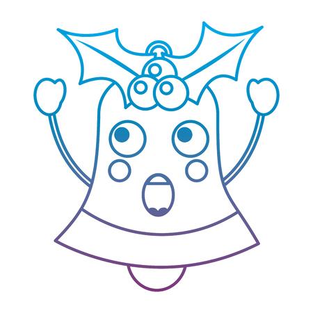 크리스마스 벨 이모티콘 아이콘 이미지 벡터 일러스트 레이 션 디자인 파란색 보라색 ombre 라인을 놀라게 스톡 콘텐츠 - 92473173