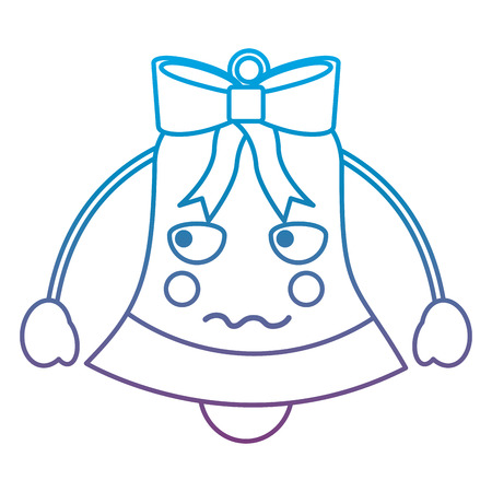 christmas bell angry emoji icon image vector illustration design  blue to purple ombre line Illustration