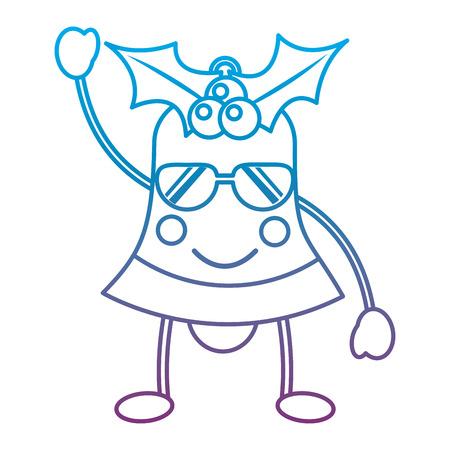 크리스마스 벨 행복 한 행복 선글라스 이모티콘 아이콘 이미지 벡터 일러스트 디자인 파란색 보라색 ombre 라인