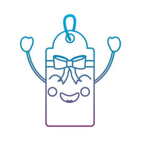 Gift or price tag happy emoji icon image vector illustration design blue to purple ombre line Illustration