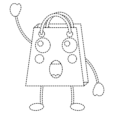 Surprised shopping bag emoticon in black dotted line illustration