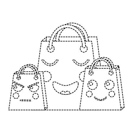 shopping bag emoji icon image vector illustration design  black line black dotted line