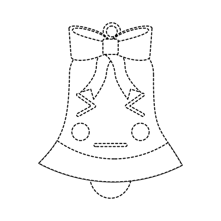 christmas bell angry emoji icon image vector illustration design  black dotted line Illustration
