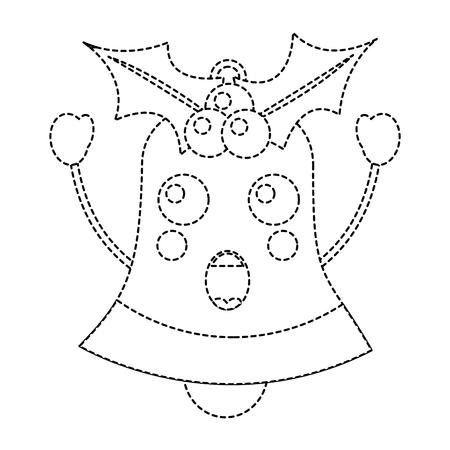 christmas bell surprised emoji icon image vector illustration design  black dotted line Stock Vector - 92473753