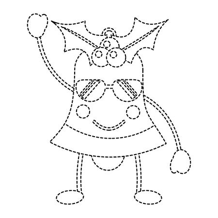 christmas bell happy  happy sunglasses emoji icon image vector illustration design  black dotted line Illustration
