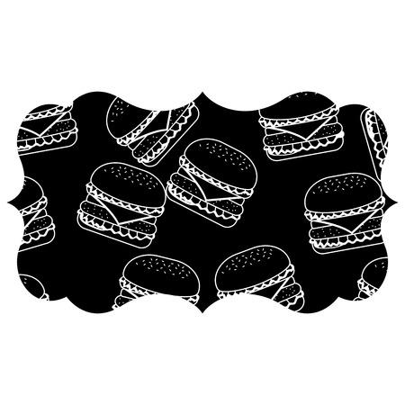 Rahmen mit Hamburger Muster Hintergrund Vektor-Illustration Design Standard-Bild - 92512967